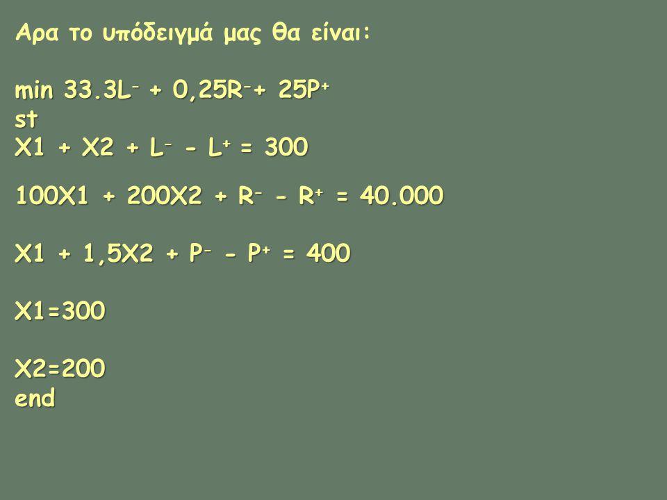 Αρα το υπόδειγμά μας θα είναι: min 33.3L - + 0,25R - + 25P + st X1 + X2 + L - - L + = 300 100X1 + 200X2 + R - - R + = 40.000 X1 + 1,5X2 + P - - P + = 400 X1=300 X2=200 end