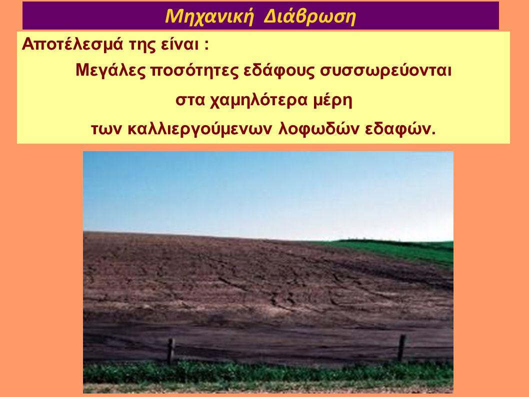 Μηχανική Διάβρωση Αποτέλεσμά της είναι : Μεγάλες ποσότητες εδάφους συσσωρεύονται στα χαμηλότερα μέρη των καλλιεργούμενων λοφωδών εδαφών.