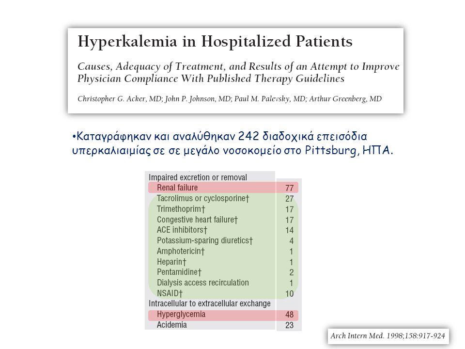 Καταγράφηκαν και αναλύθηκαν 242 διαδοχικά επεισόδια υπερκαλιαιμίας σε σε μεγάλο νοσοκομείο στο Pittsburg, ΗΠΑ.