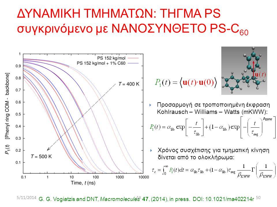  Χρόνος συσχέτισης για τμηματική κίνηση δίνεται από το ολοκλήρωμα:  Προσαρμογή σε τροποποιημένη έκφραση Kohlrausch – Williams – Watts (mKWW): G.