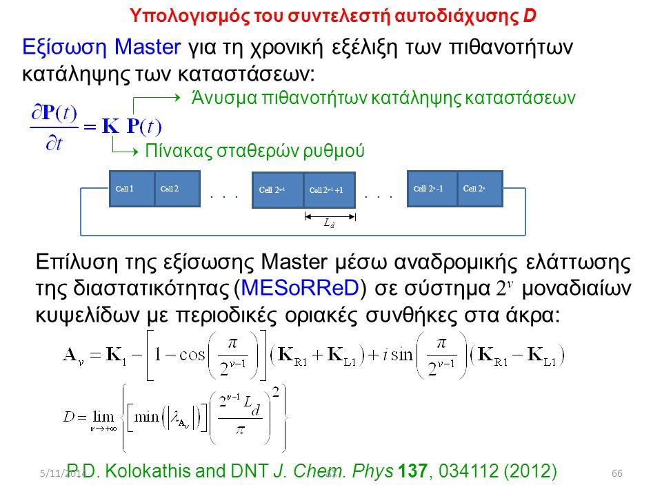 Επίλυση της εξίσωσης Master μέσω αναδρομικής ελάττωσης της διαστατικότητας (MESoRReD) σε σύστημα 2 ν μοναδιαίων κυψελίδων με περιοδικές οριακές συνθήκες στα άκρα: Υπολογισμός του συντελεστή αυτοδιάχυσης D Εξίσωση Master για τη χρονική εξέλιξη των πιθανοτήτων κατάληψης των καταστάσεων: Άνυσμα πιθανοτήτων κατάληψης καταστάσεων LdLd......