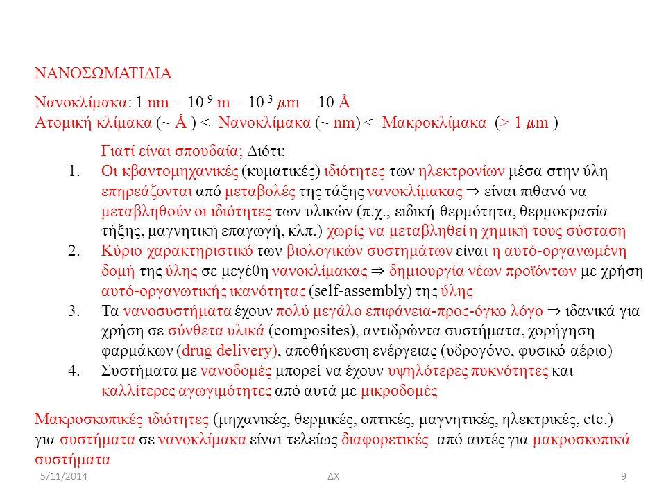 5/11/2014 ΝΑΝΟΣΩΜΑΤΙΔΙΑ Νανοκλίμακα: 1 nm = 10 -9 m = 10 -3  m = 10 Å Ατομική κλίμακα (~ Å ) 1  m ) Γιατί είναι σπουδαία; Διότι: 1.Οι κβαντομηχανικές (κυματικές) ιδιότητες των ηλεκτρονίων μέσα στην ύλη επηρεάζονται από μεταβολές της τάξης νανοκλίμακας ⇒ είναι πιθανό να μεταβληθούν οι ιδιότητες των υλικών (π.χ., ειδική θερμότητα, θερμοκρασία τήξης, μαγνητική επαγωγή, κλπ.) χωρίς να μεταβληθεί η χημική τους σύσταση 2.Κύριο χαρακτηριστικό των βιολογικών συστημάτων είναι η αυτό-οργανωμένη δομή της ύλης σε μεγέθη νανοκλίμακας ⇒ δημιουργία νέων προϊόντων με χρήση αυτό-οργανωτικής ικανότητας (self-assembly) της ύλης 3.Τα νανοσυστήματα έχουν πολύ μεγάλο επιφάνεια-προς-όγκο λόγο ⇒ ιδανικά για χρήση σε σύνθετα υλικά (composites), αντιδρώντα συστήματα, χορήγηση φαρμάκων (drug delivery), αποθήκευση ενέργειας (υδρογόνο, φυσικό αέριο) 4.Συστήματα με νανοδομές μπορεί να έχουν υψηλότερες πυκνότητες και καλλίτερες αγωγιμότητες από αυτά με μικροδομές Μακροσκοπικές ιδιότητες (μηχανικές, θερμικές, οπτικές, μαγνητικές, ηλεκτρικές, etc.) για συστήματα σε νανοκλίμακα είναι τελείως διαφορετικές από αυτές για μακροσκοπικά συστήματα 9ΔΧ