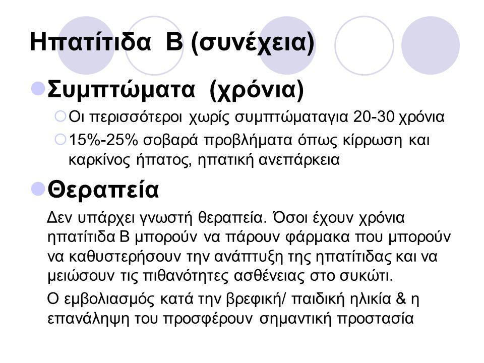 Ηπατίτιδα Β (συνέχεια) Συμπτώματα (χρόνια)  Οι περισσότεροι χωρίς συμπτώματαγια 20-30 χρόνια  15%-25% σοβαρά προβλήματα όπως κίρρωση και καρκίνος ήπ