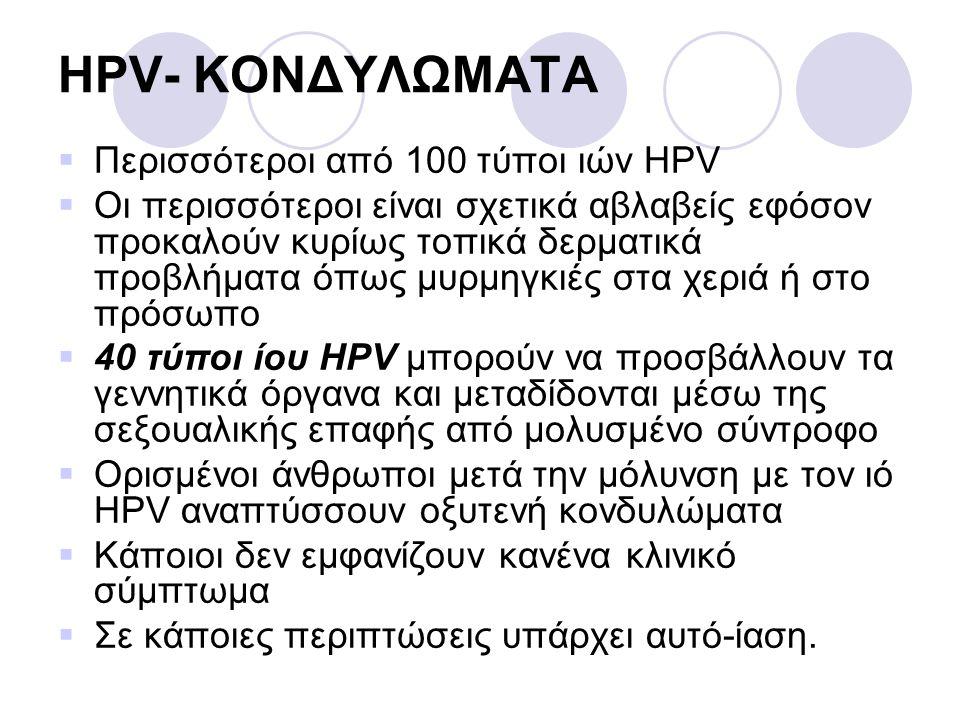 HPV- ΚΟΝΔΥΛΩΜΑΤΑ  Περισσότεροι από 100 τύποι ιών HPV  Οι περισσότεροι είναι σχετικά αβλαβείς εφόσον προκαλούν κυρίως τοπικά δερματικά προβλήματα όπω