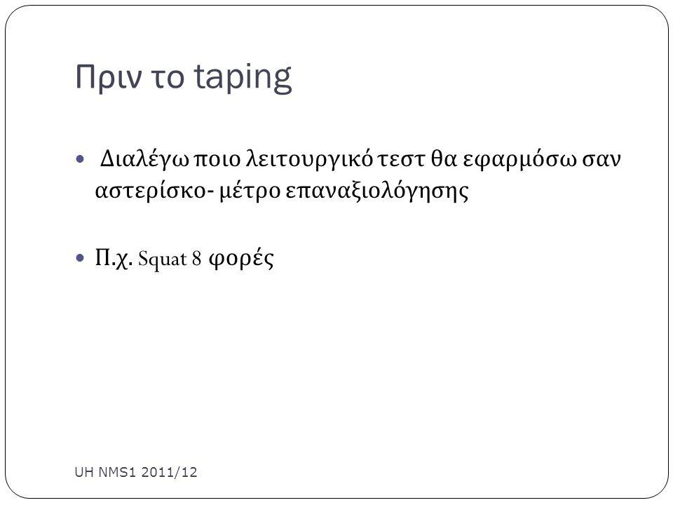 Πριν το taping Διαλέγω ποιο λειτουργικό τεστ θα εφαρμόσω σαν αστερίσκο - μέτρο επαναξιολόγησης Π. χ. Squat 8 φορές UH NMS1 2011/12