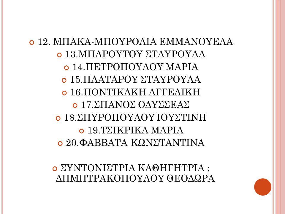12. ΜΠΑΚΑ-ΜΠΟΥΡΟΛΙΑ ΕΜΜΑΝΟΥΕΛΑ 13.ΜΠΑΡΟΥΤΟΥ ΣΤΑΥΡΟΥΛΑ 14.ΠΕΤΡΟΠΟΥΛΟΥ ΜΑΡΙΑ 15.ΠΛΑΤΑΡΟΥ ΣΤΑΥΡΟΥΛΑ 16.ΠΟΝΤΙΚΑΚΗ ΑΓΓΕΛΙΚΗ 17.ΣΠΑΝΟΣ ΟΔΥΣΣΕΑΣ 18.ΣΠΥΡΟΠΟΥΛ