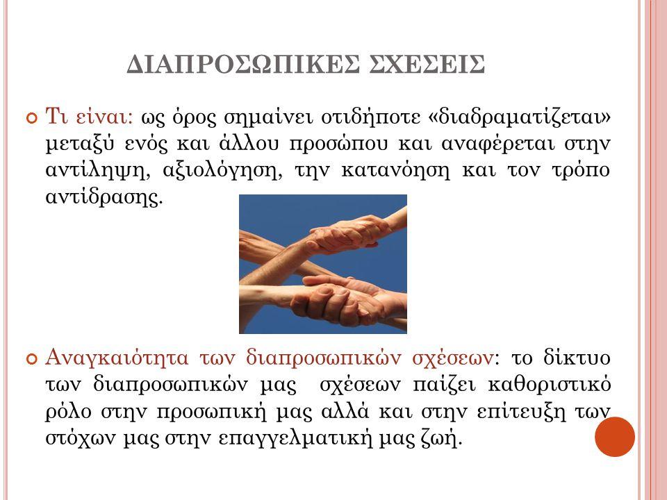 ΔΙΑΠΡΟΣΩΠΙΚΕΣ ΣΧΕΣΕΙΣ Τι είναι: ως όρος σημαίνει οτιδήποτε «διαδραματίζεται» μεταξύ ενός και άλλου προσώπου και αναφέρεται στην αντίληψη, αξιολόγηση,