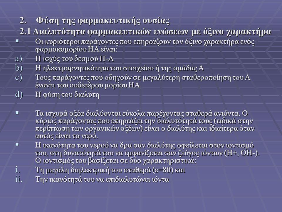  Οι κυριότεροι παράγοντες που επηρεάζουν τον όξινο χαρακτήρα ενός φαρμακομορίου ΗΑ είναι: a) Η ισχύς του δεσμού Η-Α b) Η ηλεκτραρνητικότητα του στοιχείου ή της ομάδας Α c) Τους παράγοντες που οδηγούν σε μεγαλύτερη σταθεροποίηση του Α έναντι του ουδετέρου μορίου ΗΑ d) Η φύση του διαλύτη  Τα ισχυρά οξέα διαλύονται εύκολα παρέχοντας σταθερά ανιόντα.