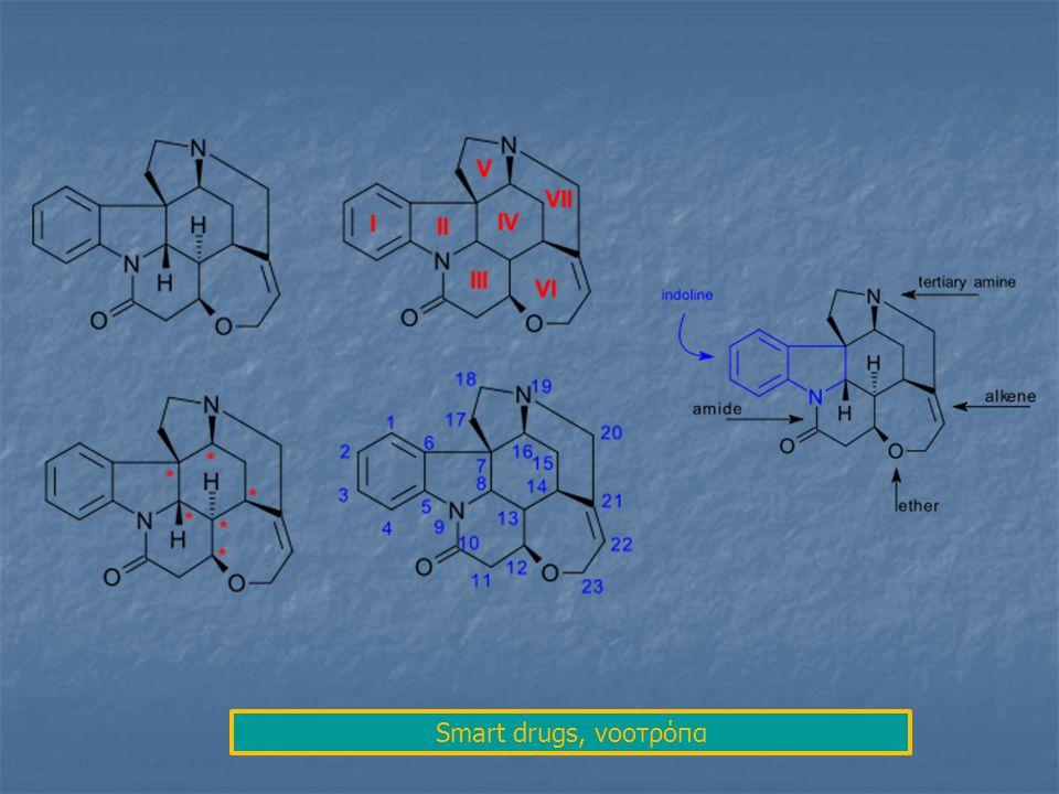 πικροτοξινίνη πικροτίνη Τα δομικά στοιχεία που εμπλέκονται: το ΟΗ και η γέφυρα Ο-C=(O) ανάμεσα στα άτομα C3 & C5