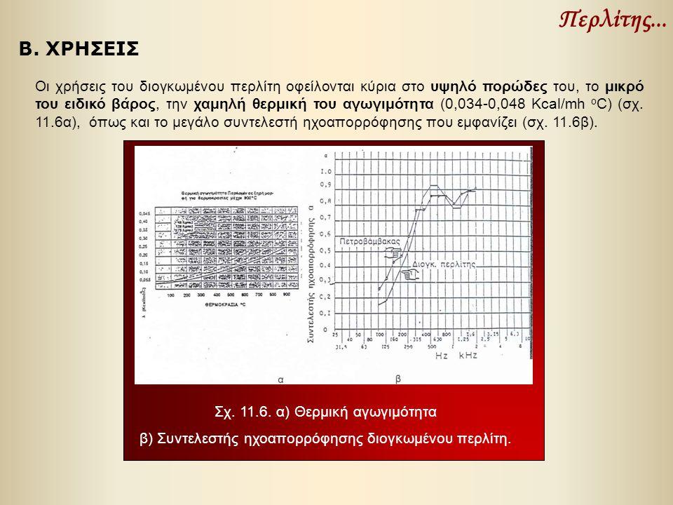 Περλίτης... Οι χρήσεις του διογκωμένου περλίτη οφείλονται κύρια στο υψηλό πορώδες του, το μικρό του ειδικό βάρος, την χαμηλή θερμική του αγωγιμότητα (
