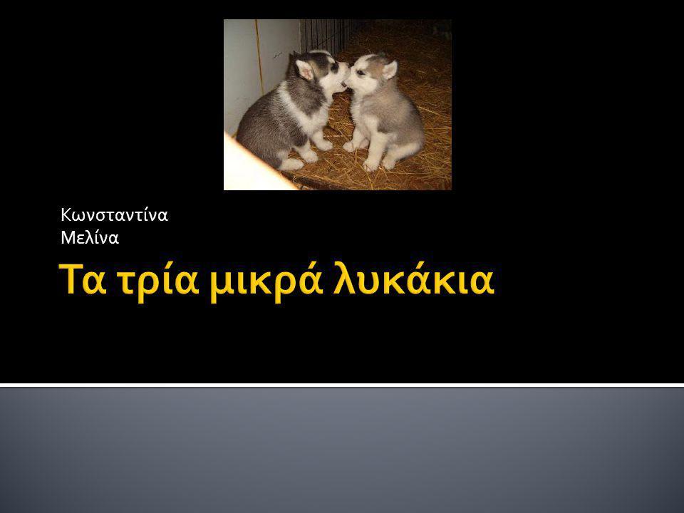 Τα τρία μικρά λυκάκια Μια φορά κι έναν καιρό ζούσαν τρία μικρά λυκάκια με τη μαμά τους.