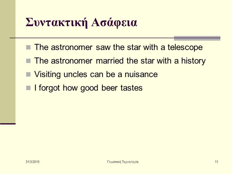 31/3/2015 Γλωσσική Τεχνολογία11 Συντακτική Ασάφεια The astronomer saw the star with a telescope The astronomer married the star with a history Visitin