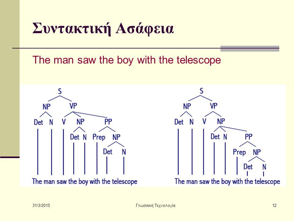 31/3/2015 Γλωσσική Τεχνολογία12 Συντακτική Ασάφεια The man saw the boy with the telescope
