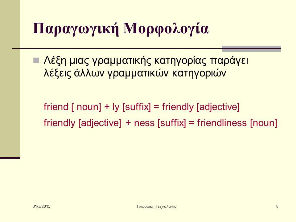 31/3/2015 Γλωσσική Τεχνολογία8 Παραγωγική Μορφολογία Λέξη μιας γραμματικής κατηγορίας παράγει λέξεις άλλων γραμματικών κατηγοριών friend [ noun] + ly
