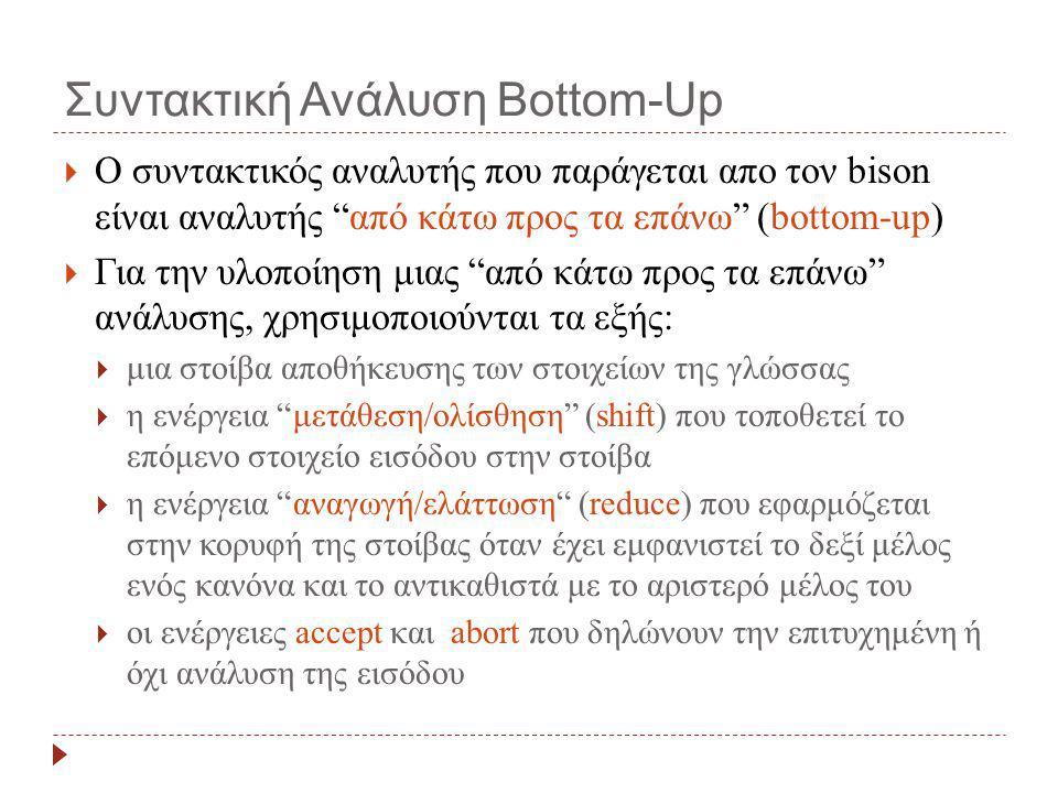 """Συντακτική Ανάλυση Bottom-Up  Ο συντακτικός αναλυτής που παράγεται απο τον bison είναι αναλυτής """"από κάτω προς τα επάνω"""" (bottom-up)  Για την υλοποί"""