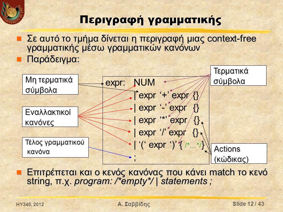 Επίλογος Σκοπός του είναι μόνο η εύκολη και άμεση προσθήκη υλοποιήσεων των συναρτήσεων που χρησιμοποιούνται από τον παραγόμενο συντακτικό αναλυτή Σκοπός του είναι μόνο η εύκολη και άμεση προσθήκη υλοποιήσεων των συναρτήσεων που χρησιμοποιούνται από τον παραγόμενο συντακτικό αναλυτή Ότι προστίθεται σε αυτό το τμήμα αντιγράφεται χωρίς αλλαγές στο τέλος του παραγόμενο αρχείο.c που περιέχει τον κώδικα του συντακτικού αναλυτή Ότι προστίθεται σε αυτό το τμήμα αντιγράφεται χωρίς αλλαγές στο τέλος του παραγόμενο αρχείο.c που περιέχει τον κώδικα του συντακτικού αναλυτή Το τμήμα αυτό είναι προαιρετικό και όταν παραλειφθεί μπορεί να παραλειφθεί και το δεύτερο σύμβολο % Το τμήμα αυτό είναι προαιρετικό και όταν παραλειφθεί μπορεί να παραλειφθεί και το δεύτερο σύμβολο % % int main(int argc, char **argv) { yyparse(); return 0; } HY340, 2012 Slide 13 / 43 Α.
