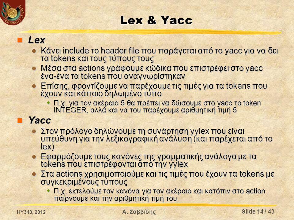 Lex & Yacc Lex Lex Κάνει include το header file που παράγεται από το yacc για να δει τα tokens και τους τύπους τους Κάνει include το header file που παράγεται από το yacc για να δει τα tokens και τους τύπους τους Μέσα στα actions γράφουμε κώδικα που επιστρέφει στο yacc ένα-ένα τα tokens που αναγνωρίστηκαν Μέσα στα actions γράφουμε κώδικα που επιστρέφει στο yacc ένα-ένα τα tokens που αναγνωρίστηκαν Επίσης, φροντίζουμε να παρέχουμε τις τιμές για τα tokens που έχουν και κάποιο δηλωμένο τύπο Επίσης, φροντίζουμε να παρέχουμε τις τιμές για τα tokens που έχουν και κάποιο δηλωμένο τύπο  Π.χ.