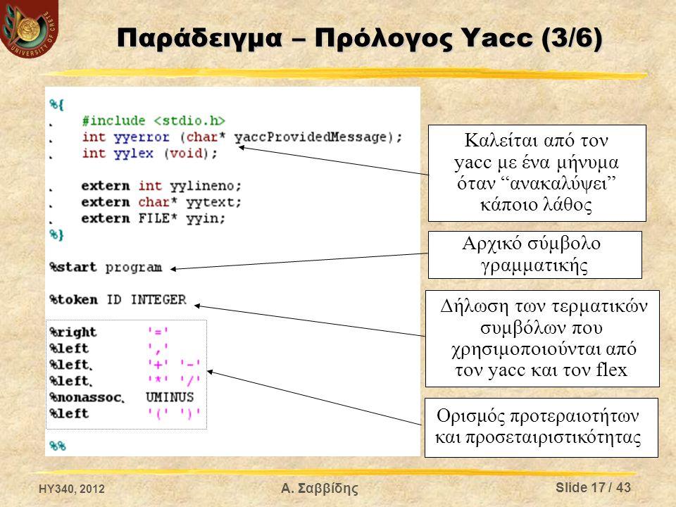 Παράδειγμα – Πρόλογος Yacc (3/6) Καλείται από τον yacc με ένα μήνυμα όταν ανακαλύψει κάποιο λάθος Αρχικό σύμβολο γραμματικής Δήλωση των τερματικών συμβόλων που χρησιμοποιούνται από τον yacc και τον flex Ορισμός προτεραιοτήτων και προσεταιριστικότητας HY340, 2012 Slide 17 / 43 Α.