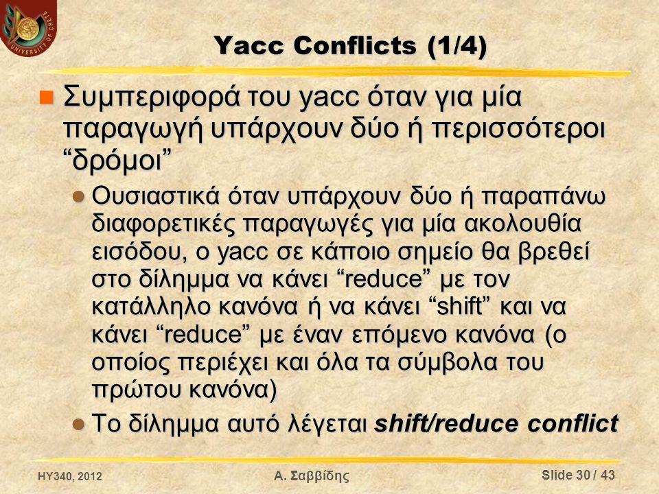 Yacc Conflicts (1/4) Συμπεριφορά του yacc όταν για μία παραγωγή υπάρχουν δύο ή περισσότεροι δρόμοι Συμπεριφορά του yacc όταν για μία παραγωγή υπάρχουν δύο ή περισσότεροι δρόμοι Ουσιαστικά όταν υπάρχουν δύο ή παραπάνω διαφορετικές παραγωγές για μία ακολουθία εισόδου, ο yacc σε κάποιο σημείο θα βρεθεί στο δίλημμα να κάνει reduce με τον κατάλληλο κανόνα ή να κάνει shift και να κάνει reduce με έναν επόμενο κανόνα (ο οποίος περιέχει και όλα τα σύμβολα του πρώτου κανόνα) Ουσιαστικά όταν υπάρχουν δύο ή παραπάνω διαφορετικές παραγωγές για μία ακολουθία εισόδου, ο yacc σε κάποιο σημείο θα βρεθεί στο δίλημμα να κάνει reduce με τον κατάλληλο κανόνα ή να κάνει shift και να κάνει reduce με έναν επόμενο κανόνα (ο οποίος περιέχει και όλα τα σύμβολα του πρώτου κανόνα) Το δίλημμα αυτό λέγεται shift/reduce conflict Το δίλημμα αυτό λέγεται shift/reduce conflict HY340, 2012 Slide 30 / 43 Α.