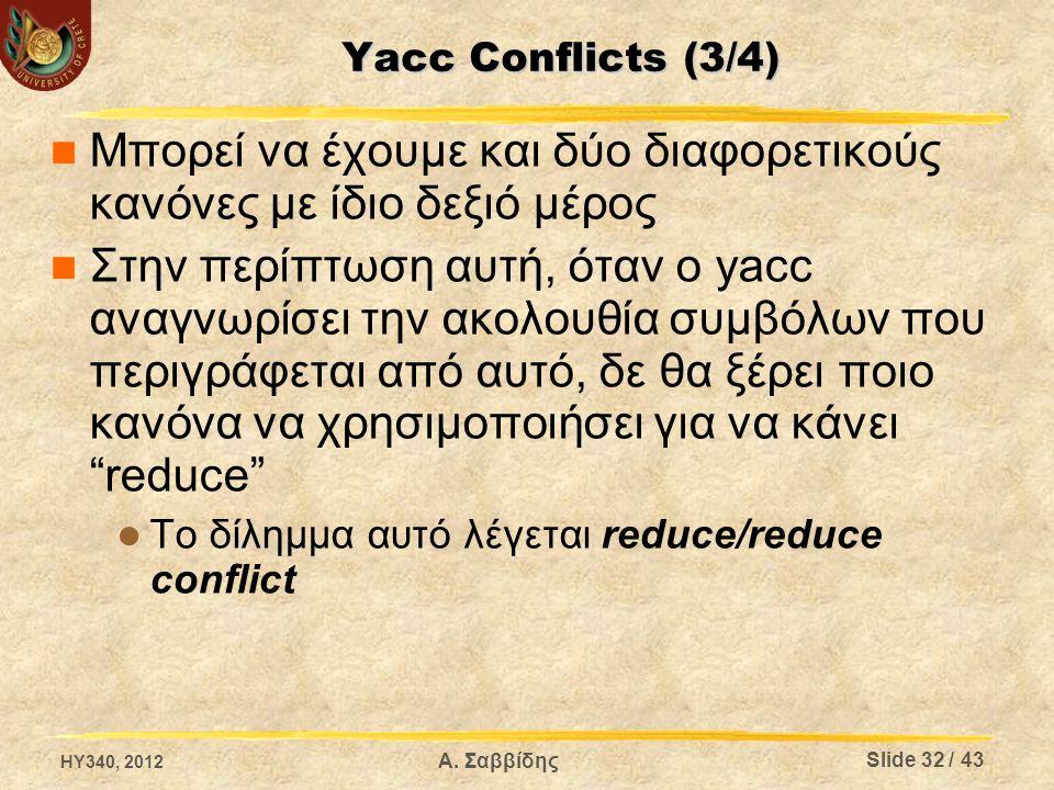 Yacc Conflicts (3/4) Μπορεί να έχουμε και δύο διαφορετικούς κανόνες με ίδιο δεξιό μέρος Στην περίπτωση αυτή, όταν ο yacc αναγνωρίσει την ακολουθία συμβόλων που περιγράφεται από αυτό, δε θα ξέρει ποιο κανόνα να χρησιμοποιήσει για να κάνει reduce Το δίλημμα αυτό λέγεται reduce/reduce conflict HY340, 2012 Slide 32 / 43 Α.