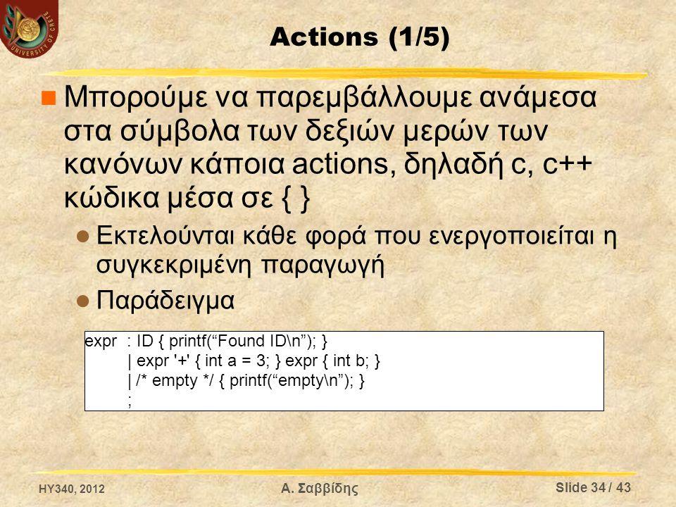 Actions (1/5) Μπορούμε να παρεμβάλλουμε ανάμεσα στα σύμβολα των δεξιών μερών των κανόνων κάποια actions, δηλαδή c, c++ κώδικα μέσα σε { } Εκτελούνται κάθε φορά που ενεργοποιείται η συγκεκριμένη παραγωγή Παράδειγμα expr : ID { printf( Found ID\n ); } | expr + { int a = 3; } expr { int b; } | /* empty */ { printf( empty\n ); } ; HY340, 2012 Slide 34 / 43 Α.