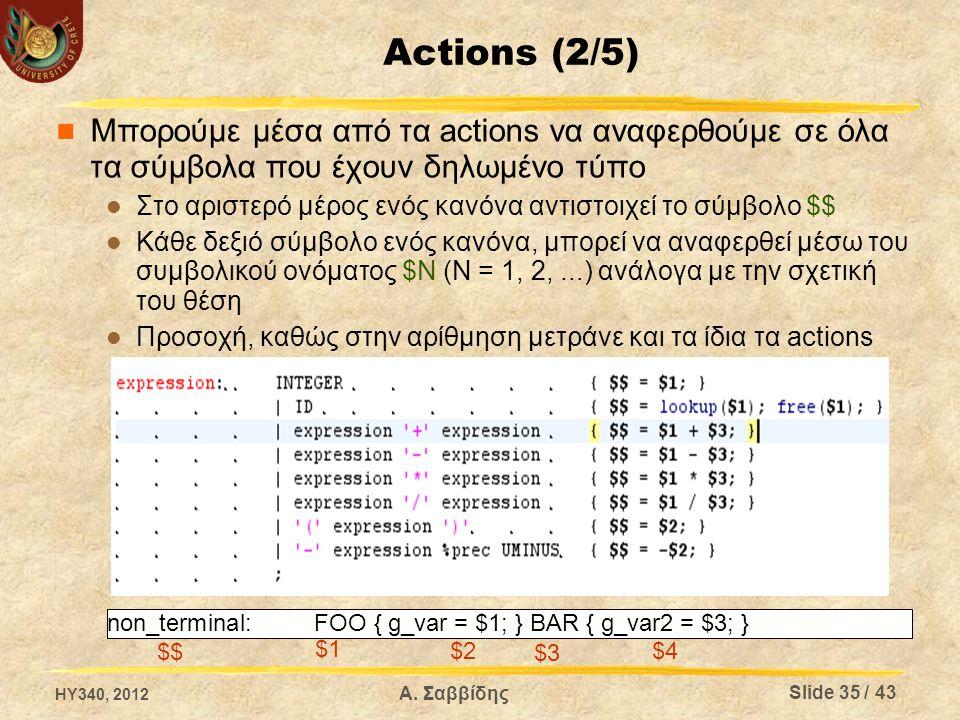 Actions (3/5) Οι τιμές στα τερματικά σύμβολα δίνονται από τον λεξικογραφικό αναλυτή Ο yacc δηλώνει μία καθολική μεταβλητή, στιγμιότυπο του union που έχουμε ορίσει, με το όνομα yylval Κάθε φορά που αναγνωρίζουμε ένα σύμβολο στον lex/flex, πριν επιστρέψουμε τον κωδικό του, αποθηκεύουμε στο union και την τιμή του (αν έχει) %union { char*stringValue; intintValue; doublerealValue; } HY340, 2012 Slide 36 / 43 Α.