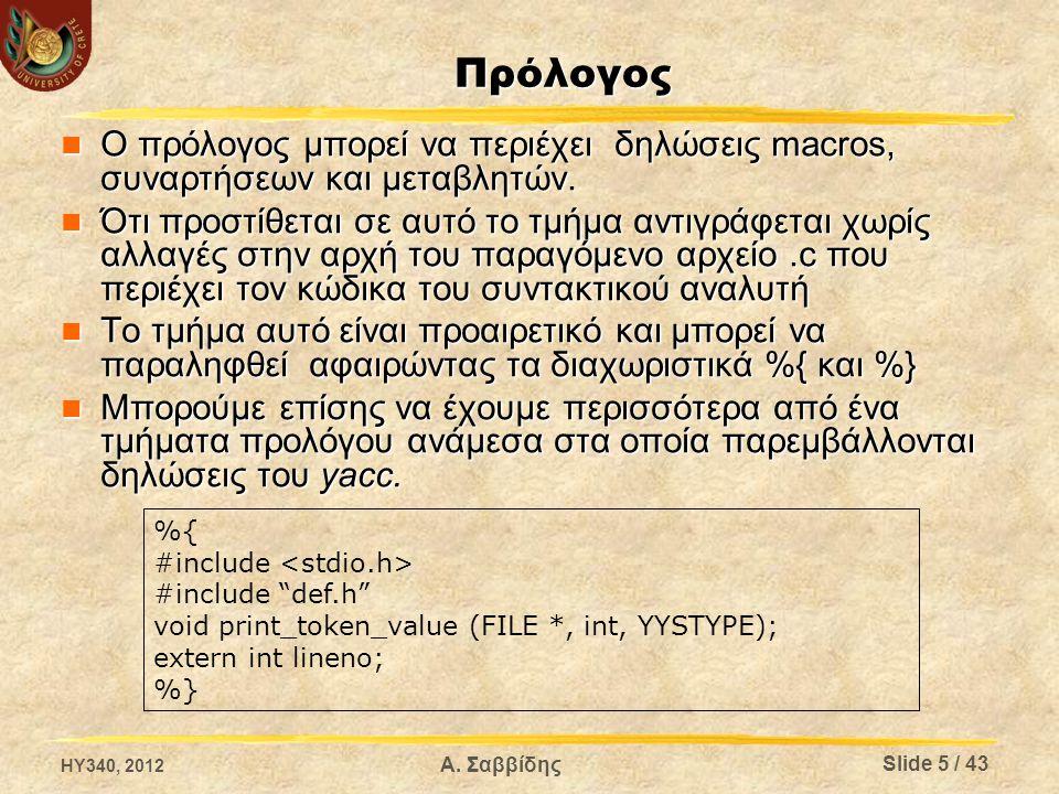 Δηλώσεις Yacc Σε αυτό το τμήμα δηλώνονται τα σύμβολα της γραμματική καθώς και κάποια χαρακτηριστικά τους Σε αυτό το τμήμα δηλώνονται τα σύμβολα της γραμματική καθώς και κάποια χαρακτηριστικά τους Δήλωση τερματικών και μη τερματικών συμβόλων Δήλωση τερματικών και μη τερματικών συμβόλων Δήλωση αρχικού συμβόλου Δήλωση αρχικού συμβόλου Καθορισμός προτεραιότητας Καθορισμός προτεραιότητας Επίσης δηλώνονται κάποιες παράμετροι που επηρεάζουν το συντακτικό αναλυτή Επίσης δηλώνονται κάποιες παράμετροι που επηρεάζουν το συντακτικό αναλυτή Κυρίως σε σχέση με τα ονόματα των παραγόμενων αρχείων του συντακτικού αναλυτή και των συναρτήσεων που προσφέρει Κυρίως σε σχέση με τα ονόματα των παραγόμενων αρχείων του συντακτικού αναλυτή και των συναρτήσεων που προσφέρει HY340, 2012 Slide 6 / 43 Α.