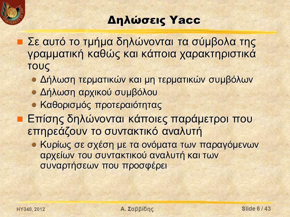 Δηλώσεις Yacc - Γραμματική (1/3) %token ΤΟΚΕΝ – Ορίζει το τερματικό σύμβολο ΤΟΚΕΝ %token ΤΟΚΕΝ – Ορίζει το τερματικό σύμβολο ΤΟΚΕΝ %union – Ορίζει ένα union με τους τύπους που μπορούν να πάρουν τα σύμβολα (τερματικά και μη) %union – Ορίζει ένα union με τους τύπους που μπορούν να πάρουν τα σύμβολα (τερματικά και μη) Π.χ.