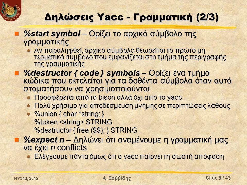 Δηλώσεις Yacc - Γραμματική (2/3) %start symbol – Ορίζει το αρχικό σύμβολο της γραμματικής %start symbol – Ορίζει το αρχικό σύμβολο της γραμματικής Αν παραληφθεί, αρχικό σύμβολο θεωρείται το πρώτο μη τερματικό σύμβολο που εμφανίζεται στο τμήμα της περιγραφής της γραμματικής Αν παραληφθεί, αρχικό σύμβολο θεωρείται το πρώτο μη τερματικό σύμβολο που εμφανίζεται στο τμήμα της περιγραφής της γραμματικής %destructor { code } symbols – Ορίζει ένα τμήμα κώδικα που εκτελείται για τα δοθέντα σύμβολα όταν αυτά σταματήσουν να χρησιμοποιούνται %destructor { code } symbols – Ορίζει ένα τμήμα κώδικα που εκτελείται για τα δοθέντα σύμβολα όταν αυτά σταματήσουν να χρησιμοποιούνται Προσφέρεται από το bison αλλά όχι από το yacc Προσφέρεται από το bison αλλά όχι από το yacc Πολύ χρήσιμο για αποδέσμευση μνήμης σε περιπτώσεις λάθους Πολύ χρήσιμο για αποδέσμευση μνήμης σε περιπτώσεις λάθους %union { char *string; } %union { char *string; } %token STRING %destructor { free ($$); } STRING %expect n – Δηλώνει ότι αναμένουμε η γραμματική μας να έχει n conflicts %expect n – Δηλώνει ότι αναμένουμε η γραμματική μας να έχει n conflicts Ελέγχουμε πάντα όμως ότι ο yacc παίρνει τη σωστή απόφαση Ελέγχουμε πάντα όμως ότι ο yacc παίρνει τη σωστή απόφαση HY340, 2012 Slide 8 / 43 Α.