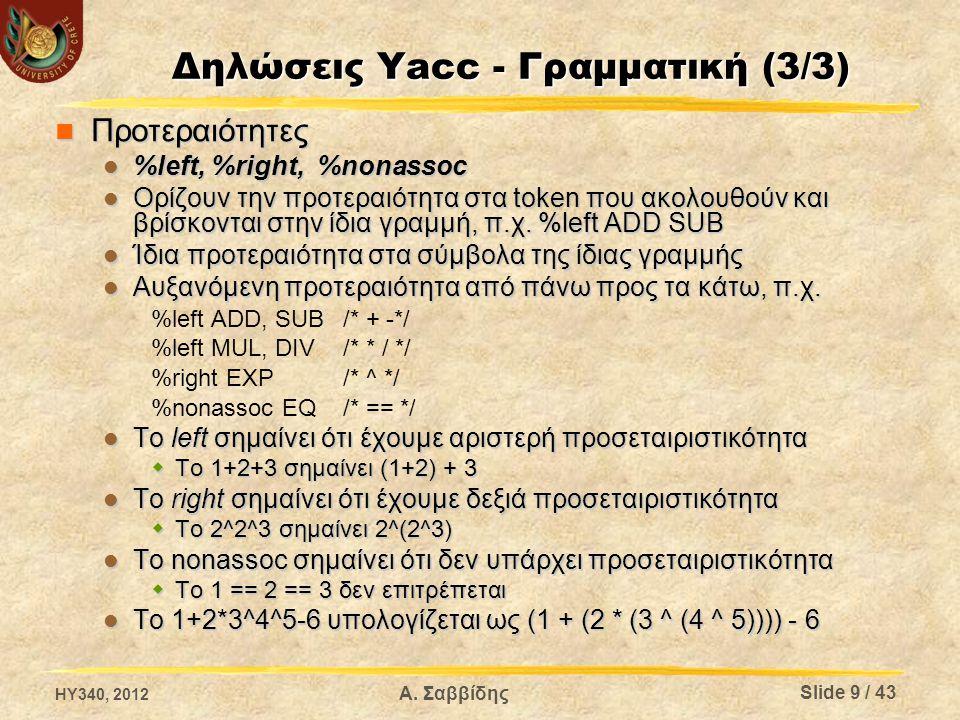 Δηλώσεις Yacc – Παράμετροι (1/2) %defines %defines Παράγει ένα header file με τις δηλώσεις macros για τα σύμβολα της γραμματικής, καθώς και κάποιες επιπλέον δηλώσεις Παράγει ένα header file με τις δηλώσεις macros για τα σύμβολα της γραμματικής, καθώς και κάποιες επιπλέον δηλώσεις Αν το παραγόμενο αρχείο του συντακτικού αναλυτή είναι το parser.c, τότε το header file θα έχει όνομα parser.h Αν το παραγόμενο αρχείο του συντακτικού αναλυτή είναι το parser.c, τότε το header file θα έχει όνομα parser.h %output= file %output= file Ορίζει το όνομα του παραγόμενου αρχείου που θα περιέχει τον κώδικα του συντακτικού αναλυτή Ορίζει το όνομα του παραγόμενου αρχείου που θα περιέχει τον κώδικα του συντακτικού αναλυτή %file-prefix= prefix %file-prefix= prefix Αλλάζει το πρόθεμα των αρχεία που παράγονται ώστε να είναι σαν το αρχείο εισόδου να λεγόταν prefix.y Αλλάζει το πρόθεμα των αρχεία που παράγονται ώστε να είναι σαν το αρχείο εισόδου να λεγόταν prefix.y %name-prefix= prefix %name-prefix= prefix Αλλάζει το πρόθεμα των συμβόλων που χρησιμοποιεί ο συντακτικός αναλυτής σε prefix αντί για yy Αλλάζει το πρόθεμα των συμβόλων που χρησιμοποιεί ο συντακτικός αναλυτής σε prefix αντί για yy HY340, 2012 Slide 10 / 43 Α.
