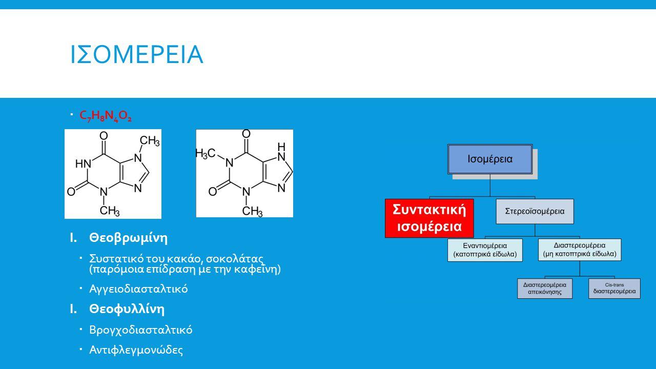 ΙΣΟΜΕΡΕΙΑ  C 7 H 8 N 4 O 2 I.Θεοβρωμίνη  Συστατικό του κακάο, σοκολάτας (παρόμοια επίδραση με την καφεΐνη)  Αγγειοδιασταλτικό I.Θεοφυλλίνη  Βρογχο