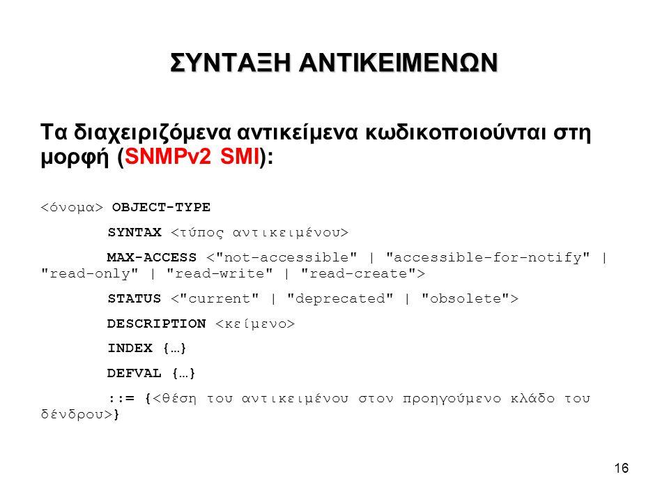 16 ΣΥΝΤΑΞΗ ΑΝΤΙΚΕΙΜΕΝΩΝ Τα διαχειριζόμενα αντικείμενα κωδικοποιούνται στη μορφή (SNMPv2 SMI): OBJECT-TYPE SYNTAX MAX-ACCESS STATUS DESCRIPTION INDEX {