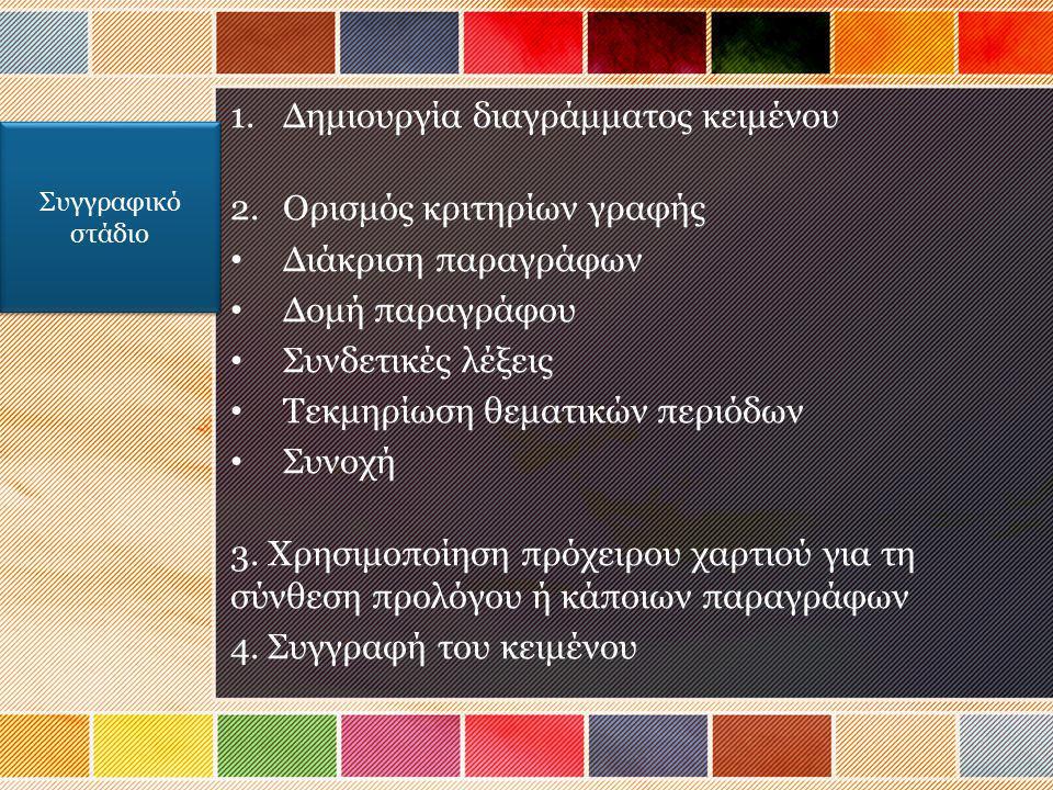 1.Δημιουργία διαγράμματος κειμένου 2.Ορισμός κριτηρίων γραφής Διάκριση παραγράφων Δομή παραγράφου Συνδετικές λέξεις Τεκμηρίωση θεματικών περιόδων Συνο