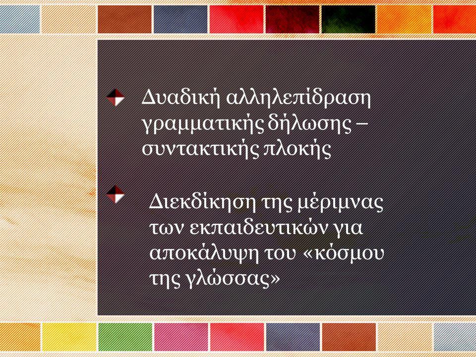 Δυαδική αλληλεπίδραση γραμματικής δήλωσης – συντακτικής πλοκής Διεκδίκηση της μέριμνας των εκπαιδευτικών για αποκάλυψη του «κόσμου της γλώσσας»