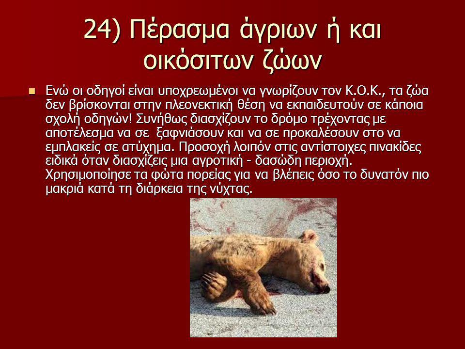 24) Πέρασμα άγριων ή και οικόσιτων ζώων Ενώ οι οδηγοί είναι υποχρεωμένοι να γνωρίζουν τον Κ.Ο.Κ., τα ζώα δεν βρίσκονται στην πλεονεκτική θέση να εκπαι