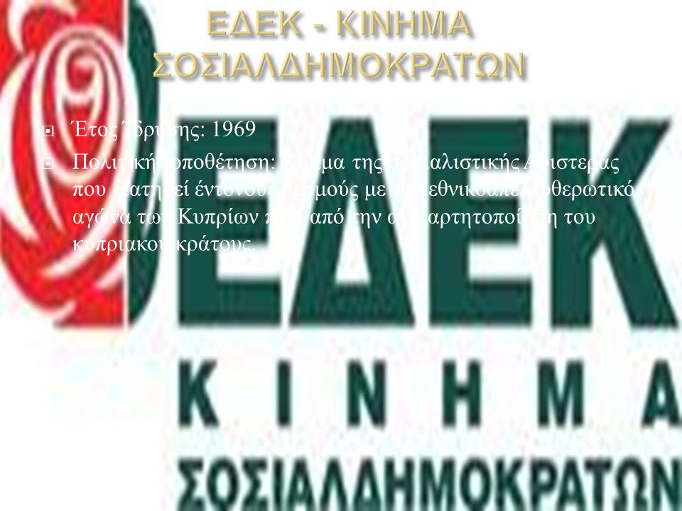  Έτος Ίδρυσης : 1976  Πολιτική τοποθέτηση : Κόμμα της κεντροδεξιάς που ιδρύθηκε από τον Σπύρο Κυπριανού και ανατοποθετείται στον χώρο του κοινωνικού κέντρου.