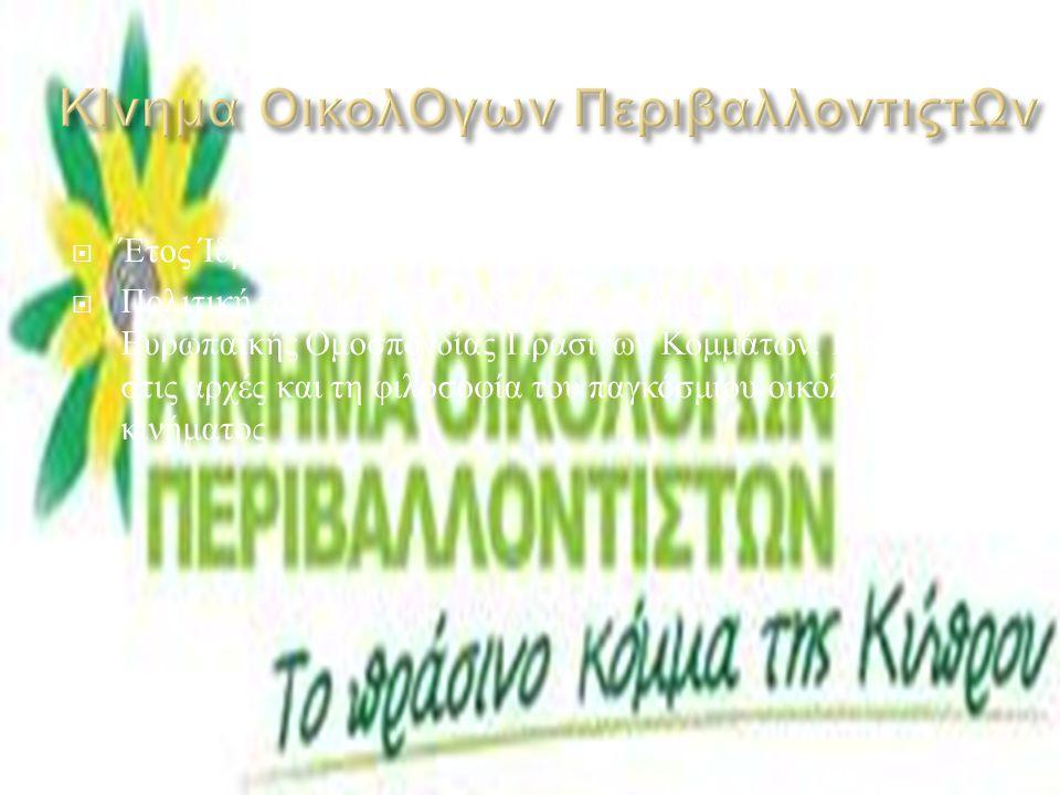  Έτος Ίδρυσης : 2005  Πολιτική τοποθέτηση : Κινείται στον χώρο της Δεξιάς.