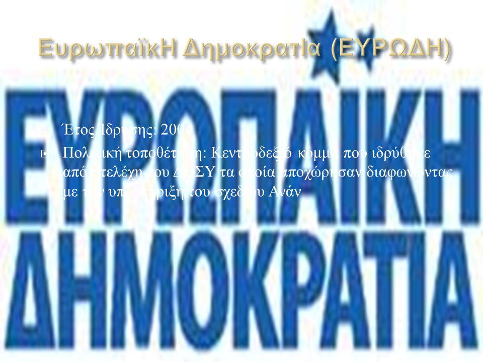  Έτος Ίδρυσης : 2004  Πολιτική τοποθέτηση : Ιδρύθηκε από τον πρώην υπουργό Γεωργίας και βουλευτή του ΔΗΣΥ Τίμη Ευθυμίου.