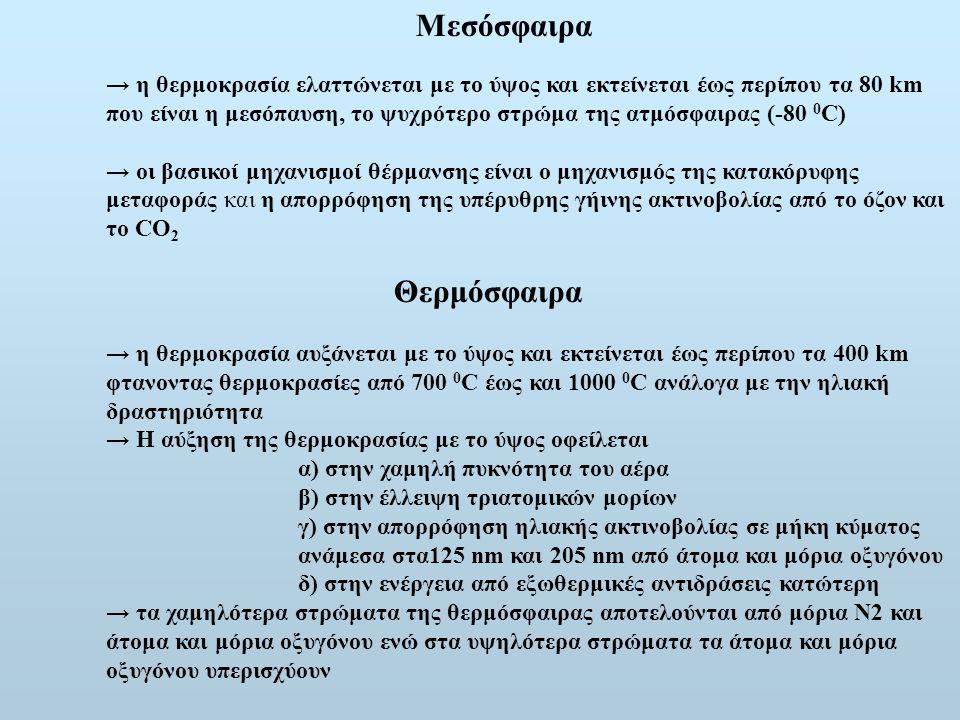 Μεσόσφαιρα → η θερμοκρασία ελαττώνεται με το ύψος και εκτείνεται έως περίπου τα 80 km που είναι η μεσόπαυση, το ψυχρότερο στρώμα της ατμόσφαιρας (-80