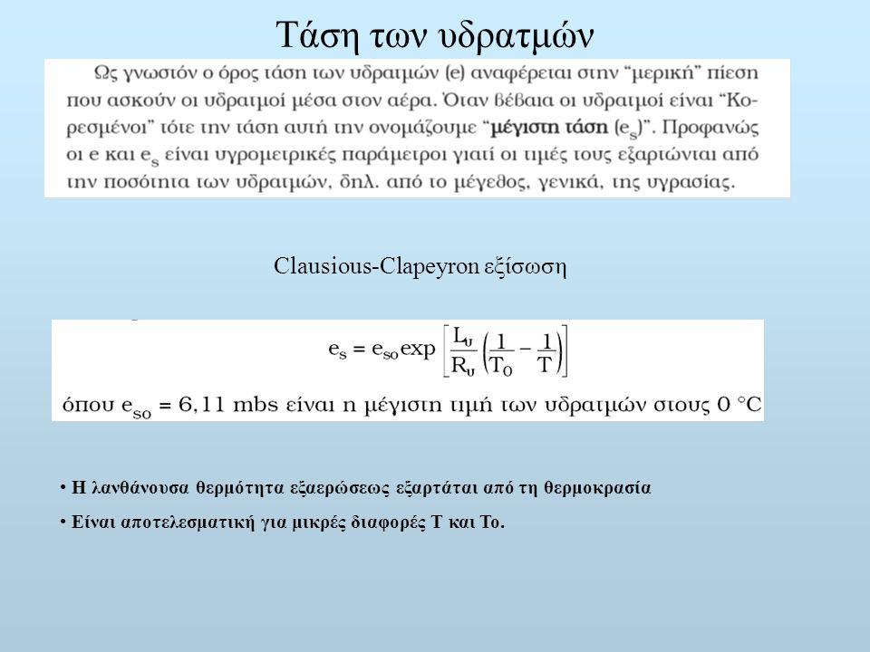 Τάση των υδρατμών Clausious-Clapeyron εξίσωση Η λανθάνουσα θερμότητα εξαερώσεως εξαρτάται από τη θερμοκρασία Είναι αποτελεσματική για μικρές διαφορές
