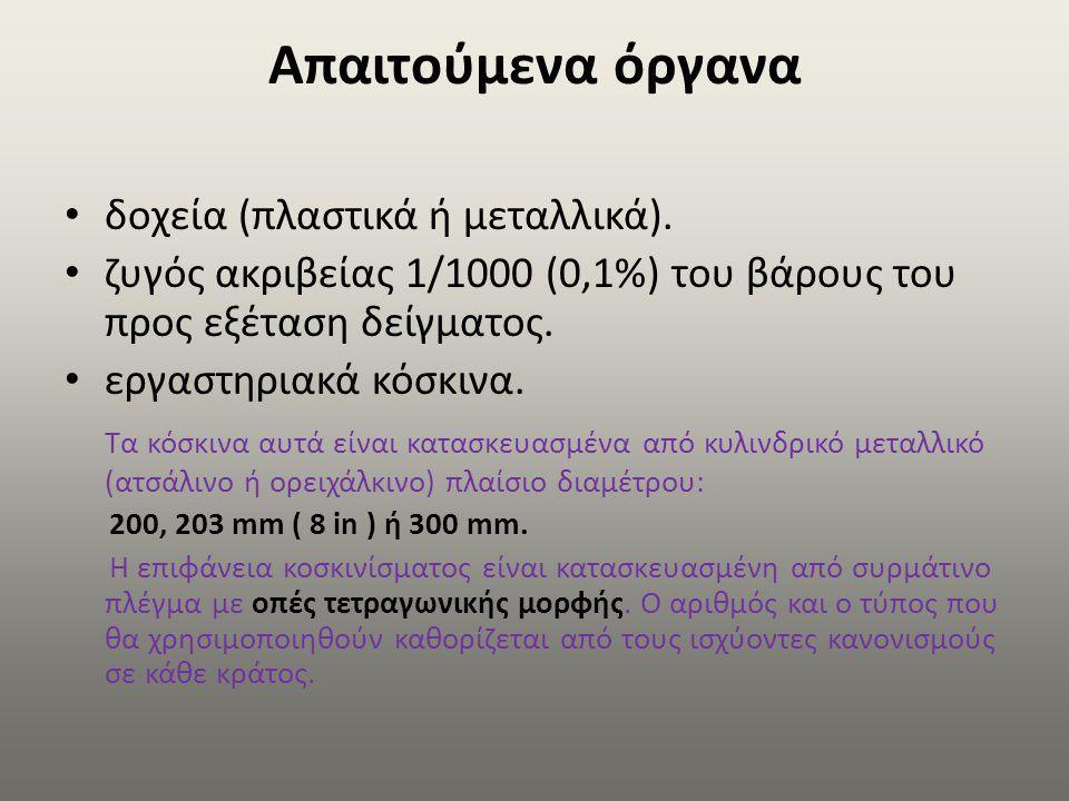 Απαιτούμενα όργανα δοχεία (πλαστικά ή μεταλλικά). ζυγός ακριβείας 1/1000 (0,1%) του βάρους του προς εξέταση δείγματος. εργαστηριακά κόσκινα. Τα κόσκιν