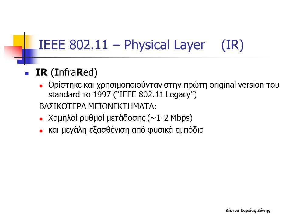 Δίκτυα Ευρείας Ζώνης ΙΕΕΕ 802.11 – Physical Layer (IR) IR (InfraRed) Ορίστηκε και χρησιμοποιούνταν στην πρώτη original version του standard το 1997 ( IEEE 802.11 Legacy ) ΒΑΣΙΚΟΤΕΡΑ MEIONEKTHMAΤΑ: Χαμηλοί ρυθμοί μετάδοσης (~1-2 Mbps) και μεγάλη εξασθένιση από φυσικά εμπόδια