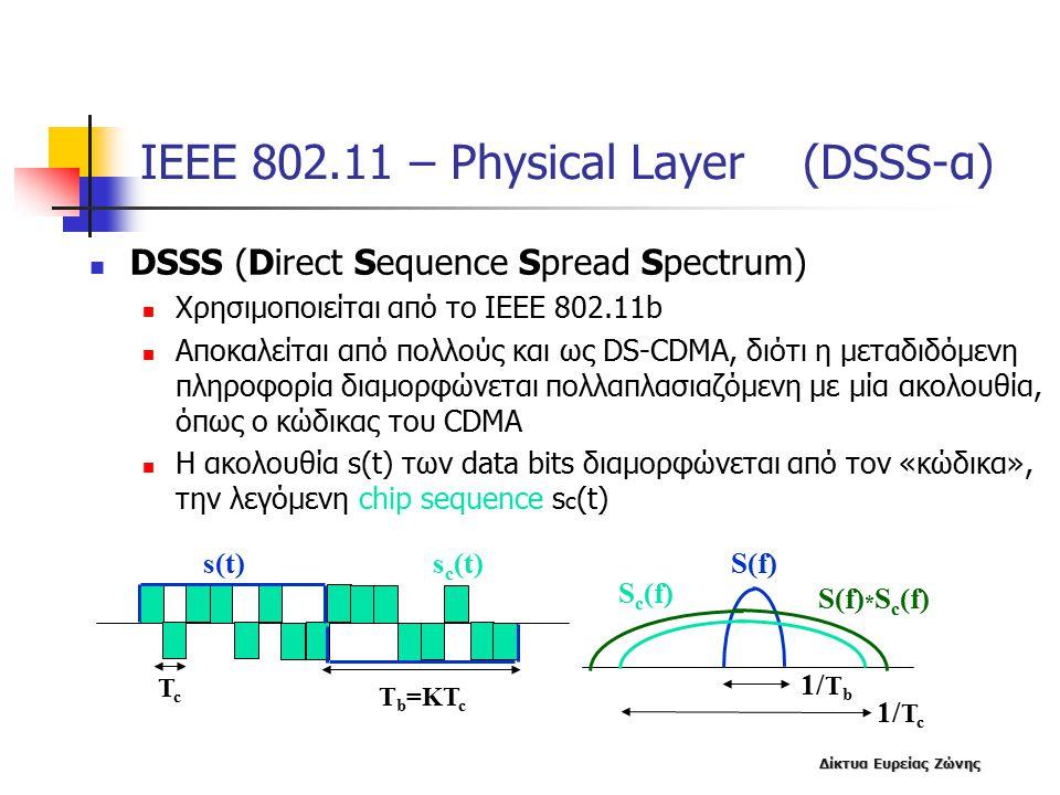 Δίκτυα Ευρείας Ζώνης ΙΕΕΕ 802.11 – Physical Layer (DSSS-α) DSSS (Direct Sequence Spread Spectrum) Χρησιμοποιείται από το ΙΕΕΕ 802.11b Αποκαλείται από πολλούς και ως DS-CDMA, διότι η μεταδιδόμενη πληροφορία διαμορφώνεται πολλαπλασιαζόμενη με μία ακολουθία, όπως ο κώδικας του CDMA Η ακολουθία s(t) των data bits διαμορφώνεται από τον «κώδικα», την λεγόμενη chip sequence s c (t) s(t)s c (t) T b =KT c Tc Tc S(f) S c (f) 1/ T b 1/ T c S(f) * S c (f)