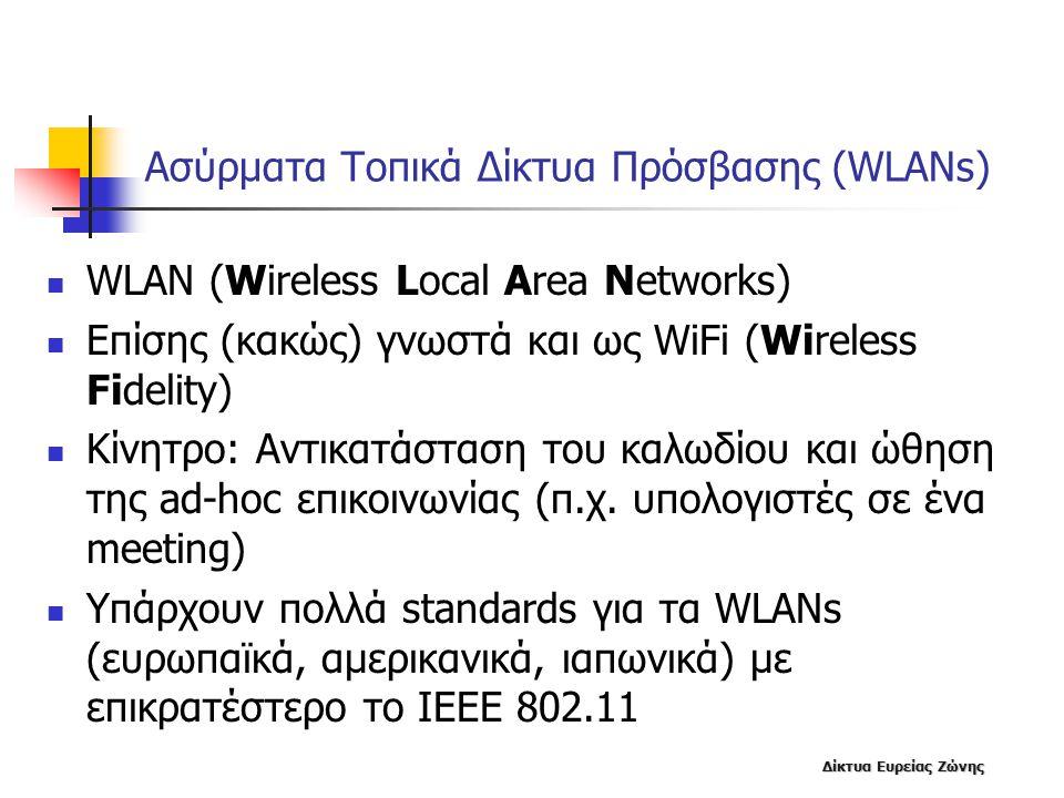 Δίκτυα Ευρείας Ζώνης Ασύρματα Τοπικά Δίκτυα Πρόσβασης (WLANs) WLAN (Wireless Local Area Networks) Επίσης (κακώς) γνωστά και ως WiFi (Wireless Fidelity) Κίνητρο: Αντικατάσταση του καλωδίου και ώθηση της ad-hoc επικοινωνίας (π.χ.