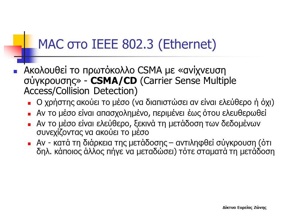 Δίκτυα Ευρείας Ζώνης MAC στο IEEE 802.3 (Ethernet) Ακολουθεί το πρωτόκολλο CSMA με «ανίχνευση σύγκρουσης» - CSMA/CD (Carrier Sense Multiple Access/Collision Detection) Ο χρήστης ακούει το μέσο (να διαπιστώσει αν είναι ελεύθερο ή όχι) Αν το μέσο είναι απασχολημένο, περιμένει έως ότου ελευθερωθεί Αν το μέσο είναι ελεύθερο, ξεκινά τη μετάδοση των δεδομένων συνεχίζοντας να ακούει το μέσο Αν - κατά τη διάρκεια της μετάδοσης – αντιληφθεί σύγκρουση (ότι δηλ.