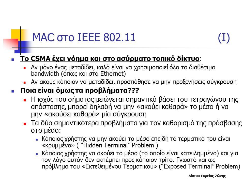 Δίκτυα Ευρείας Ζώνης MAC στο IEEE 802.11 (I) To CSMA έχει νόημα και στο ασύρματο τοπικό δίκτυο: Αν μόνο ένας μεταδίδει, καλό είναι να χρησιμοποιεί όλο το διαθέσιμο bandwidth (όπως και στο Ethernet) Αν ακούς κάποιον να μεταδίδει, προσπάθησε να μην προξενήσεις σύγκρουση Ποια είναι όμως τα προβλήματα??.