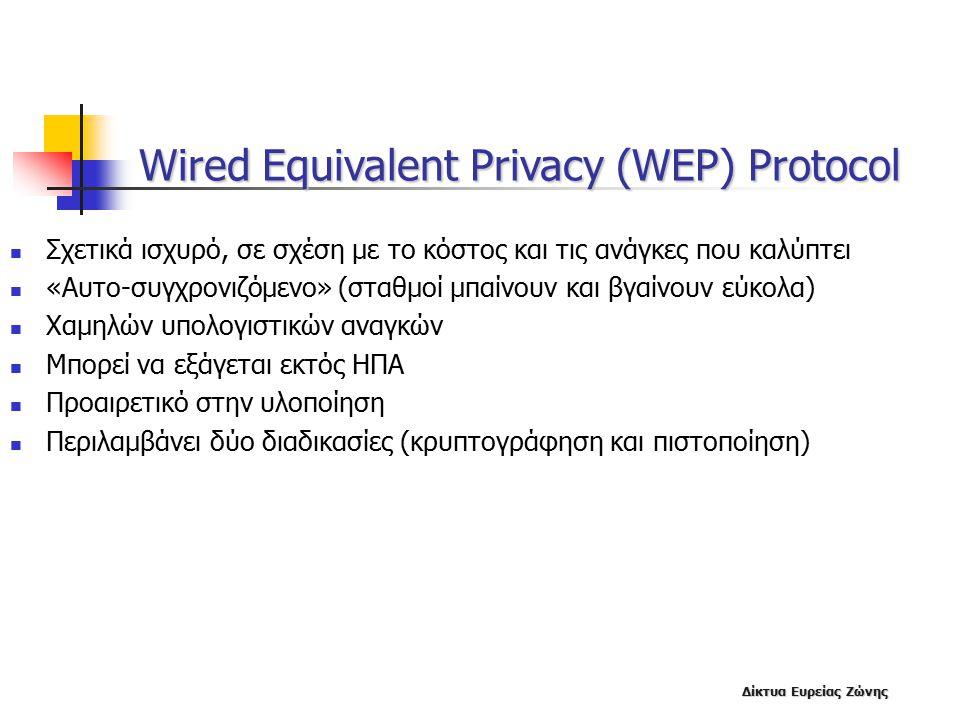 Δίκτυα Ευρείας Ζώνης Wired Equivalent Privacy (WEP) Protocol Σχετικά ισχυρό, σε σχέση με το κόστος και τις ανάγκες που καλύπτει «Αυτο-συγχρονιζόμενο» (σταθμοί μπαίνουν και βγαίνουν εύκολα) Χαμηλών υπολογιστικών αναγκών Μπορεί να εξάγεται εκτός ΗΠΑ Προαιρετικό στην υλοποίηση Περιλαμβάνει δύο διαδικασίες (κρυπτογράφηση και πιστοποίηση)