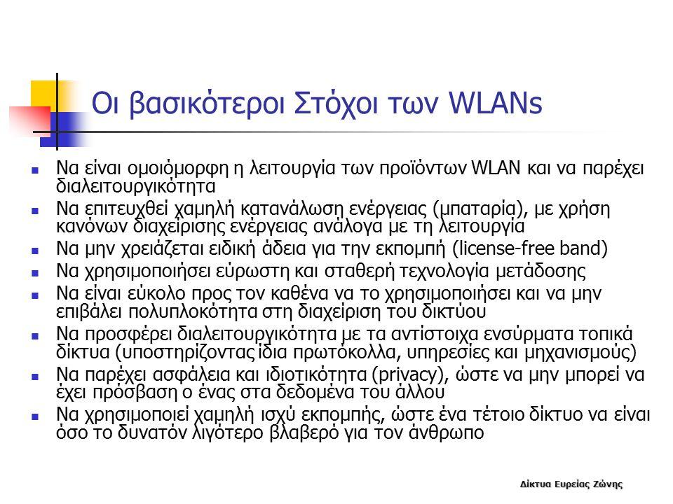 Δίκτυα Ευρείας Ζώνης Οι βασικότεροι Στόχοι των WLANs Να είναι ομοιόμορφη η λειτουργία των προϊόντων WLAN και να παρέχει διαλειτουργικότητα Να επιτευχθεί χαμηλή κατανάλωση ενέργειας (μπαταρία), με χρήση κανόνων διαχείρισης ενέργειας ανάλογα με τη λειτουργία Να μην χρειάζεται ειδική άδεια για την εκπομπή (license-free band) Nα χρησιμοποιήσει εύρωστη και σταθερή τεχνολογία μετάδοσης Να είναι εύκολο προς τον καθένα να το χρησιμοποιήσει και να μην επιβάλει πολυπλοκότητα στη διαχείριση του δικτύου Να προσφέρει διαλειτουργικότητα με τα αντίστοιχα ενσύρματα τοπικά δίκτυα (υποστηρίζοντας ίδια πρωτόκολλα, υπηρεσίες και μηχανισμούς) Να παρέχει ασφάλεια και ιδιοτικότητα (privacy), ώστε να μην μπορεί να έχει πρόσβαση ο ένας στα δεδομένα του άλλου Να χρησιμοποιεί χαμηλή ισχύ εκπομπής, ώστε ένα τέτοιο δίκτυο να είναι όσο το δυνατόν λιγότερο βλαβερό για τον άνθρωπο