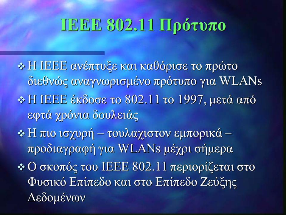  Η IEEE ανέπτυξε και καθόρισε το πρώτο διεθνώς αναγνωρισμένο πρότυπο για WLANs  Η IEEE έκδοσε το 802.11 το 1997, μετά από εφτά χρόνια δουλειάς  Η π