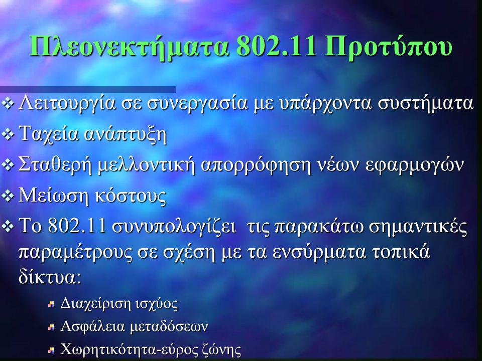  Λειτουργία σε συνεργασία με υπάρχοντα συστήματα  Ταχεία ανάπτυξη  Σταθερή μελλοντική απορρόφηση νέων εφαρμογών  Μείωση κόστους  Tο 802.11 συνυπο